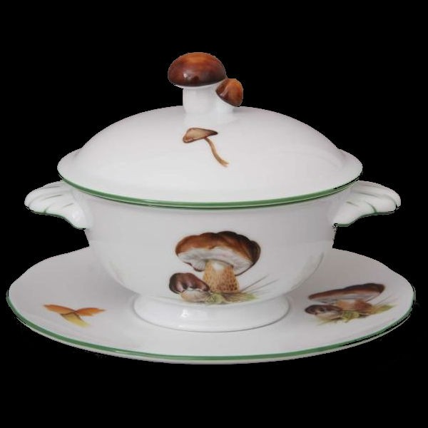 Soup Cup with Saucer, Mushroom Knob - Mushrooms of Forest