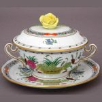 Soup Cup and Saucer, Rose Knob - Indian Basket Multicolor