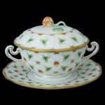 Soup Cup with Saucer, Bud Knob - Fresh Strawberry