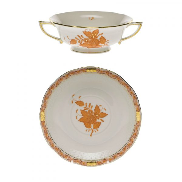 Cream Soup Cup and Saucer - Chinese Bouquet (Assorted Colors)