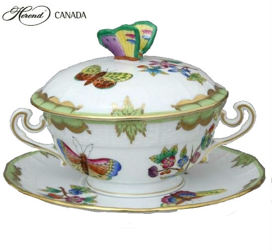 Soup Cup with Saucer, Butterfly Knob - Queen Victoria