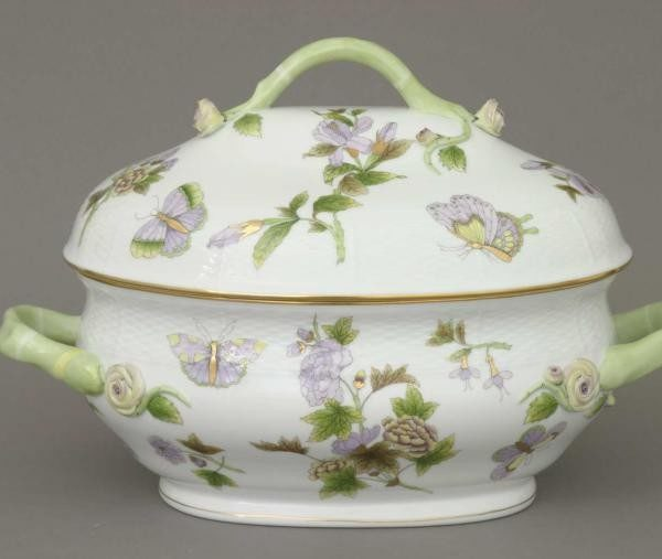 Soup tureen, branch knob - Royal Garden Green