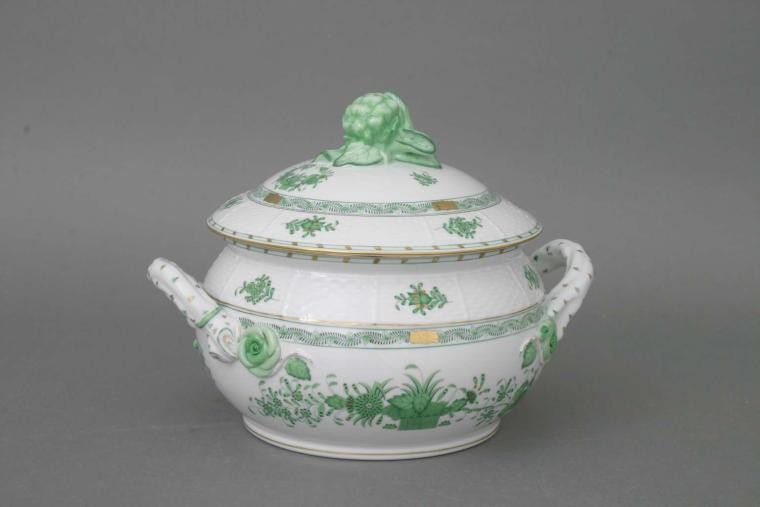 Soup tureen, cauliflower knob - Indian Basket Green