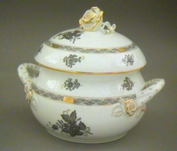 Soup tureen, rose knob - Chinese Bouquet (Assorted Colors)