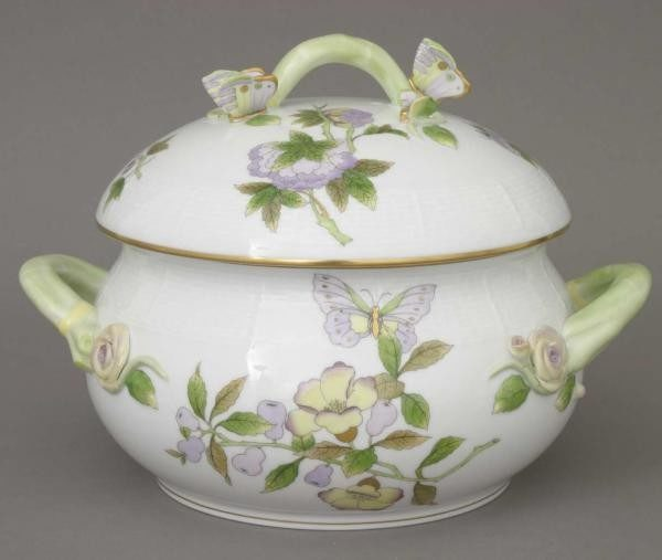 Soup tureen, butterfly knob - Royal Garden Green Flowers