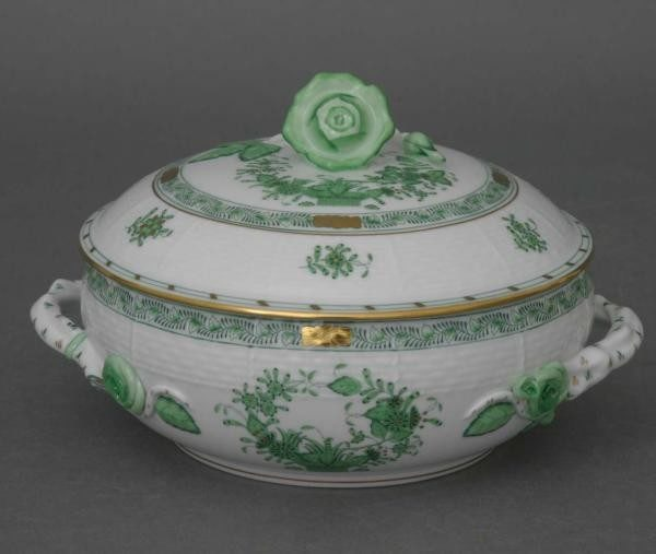 Soup tureen, rose knob - Indian Basket Green