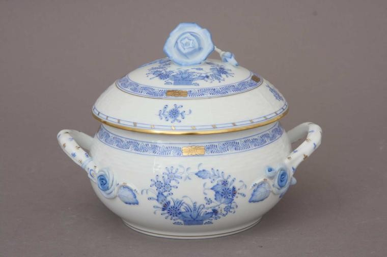 Soup tureen, rose knob - Indian Basket Blue