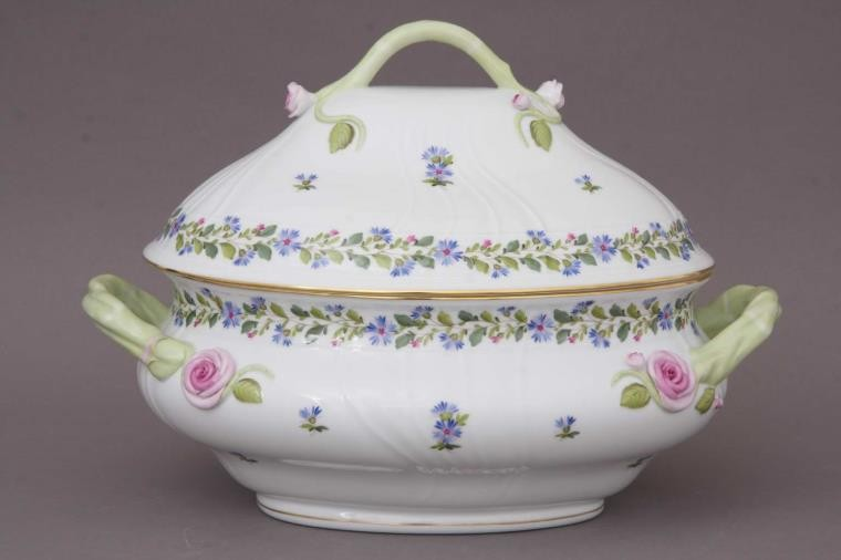 Soup tureen, branch knob - Rich Petit Blue Garden