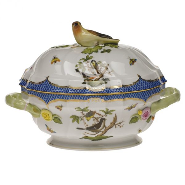 Soup tureen, bird knob - Rothschild Bird Blue