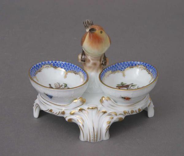 Twin salt cellar, bird knob- Rothschild Bird Blue