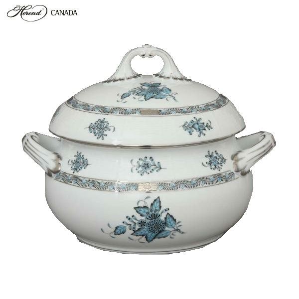 Soup tureen, strap knob-Chinese Bouquet Tuquoise Platinum