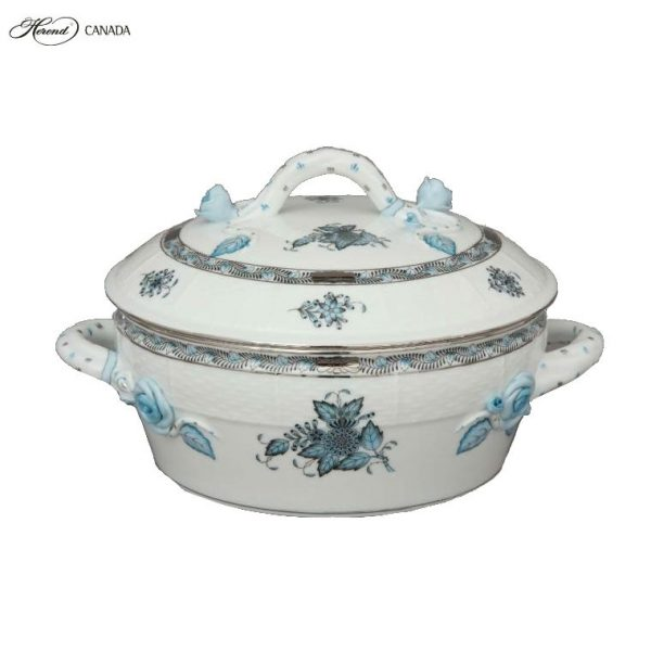 Vegetable dish, branch knob- Chinese Bouquet Turquoise