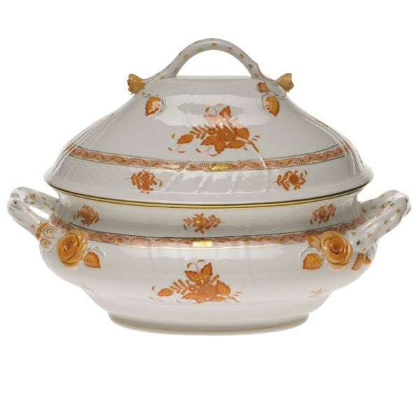 Soup tureen, branch knob - Chinese Bouquet Deep Rust