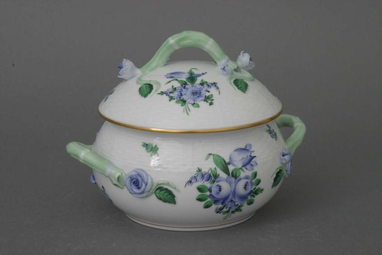 Soup tureen, rose knob - Printemps Blue