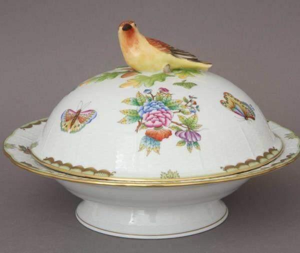 Vegetable dish, bird knob - Queen Victoria