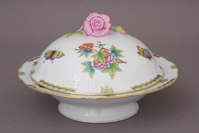 Vegetable dish, rose knob - Queen Victoria