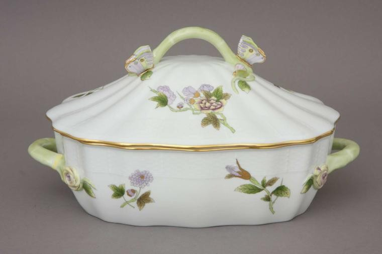 Vegetable dish, butterfly knob- Royal Garden Flowers