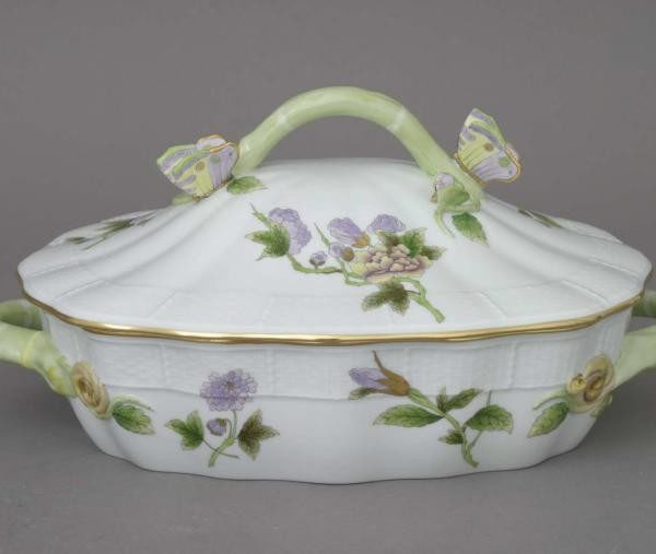 Vegetable dish, butterfly knob - Royal Garden Flowers