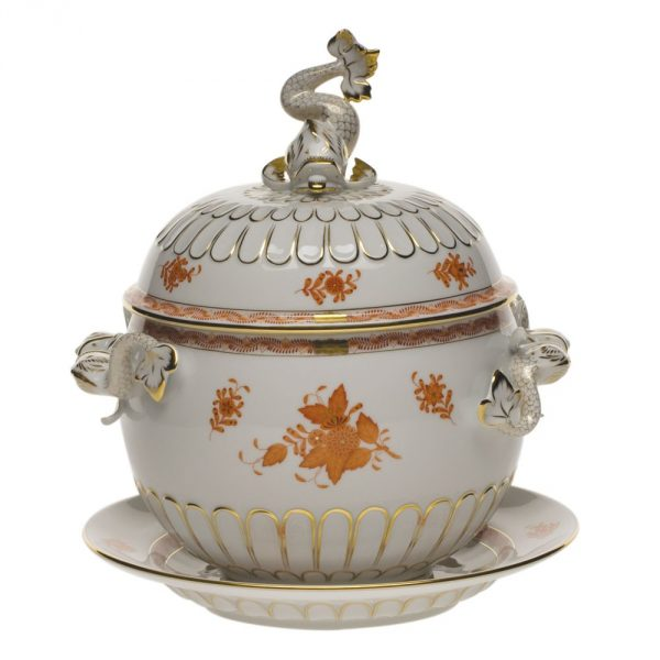 Soup tureen, with platter, dolphin knob - Chinese Bouqet Rust