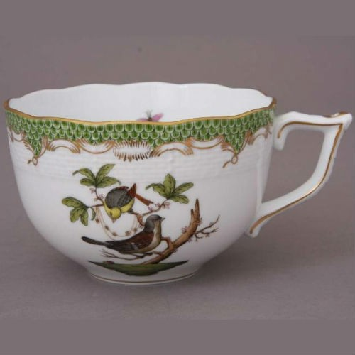 Teacup and Saucer (Large) - Rothschild Bird Green Fishnet