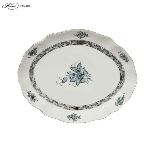 Small Oval dish - Chinese Bouquet Turquoise
