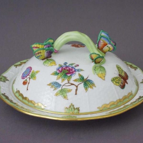 Butter dish, butterfly knob - Queen Victoria