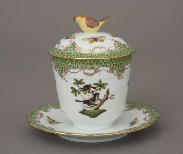 Jam pot, bird knob - Rothschild Bird Maroone