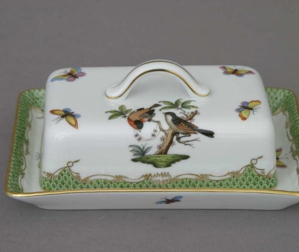 Butter dish, branch knob - Rothschild Bird - Green Fishnet