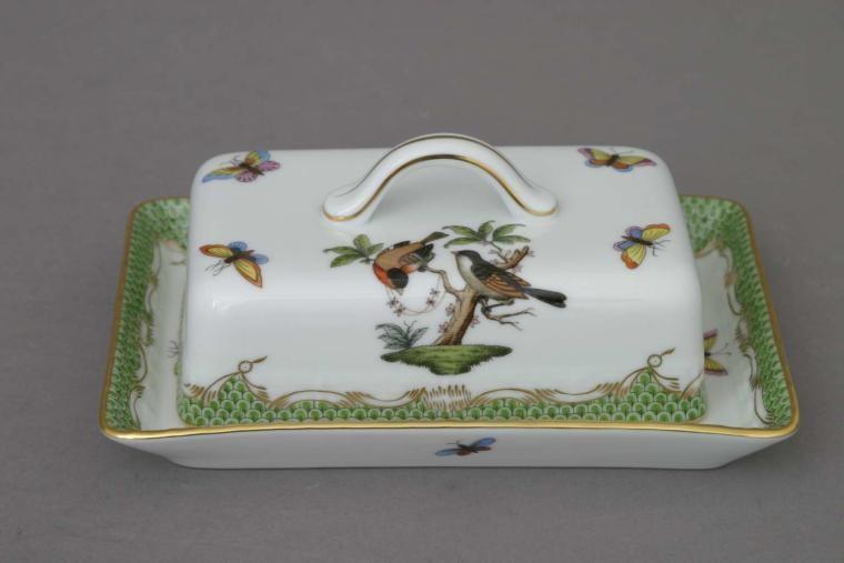 Butter dish, branch knob - Rothschild Bird - Green Fishnet
