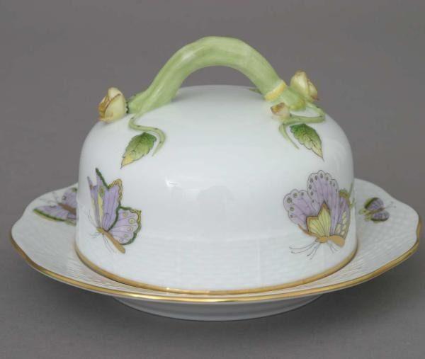 Butter dish, branch knob - Royal Garden Butterfly