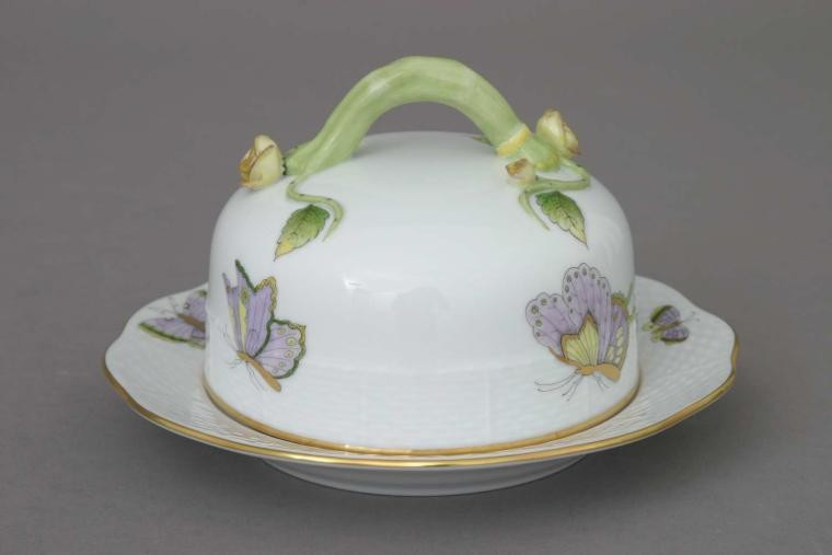 Butter dish, branch knob - Royal Garden Butterfly
