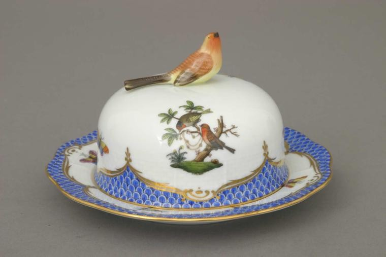 Butter dish, bird knob - Rothschild Bird Blue