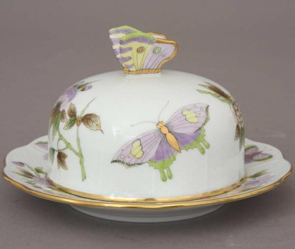 Small Butter dish, butterfly knob - Royal Garden