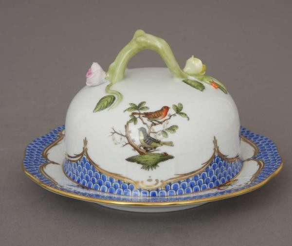 Butter dish, branch knob - Rothschild Bird Blue