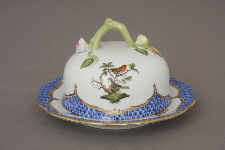 Butter dish, branch knob - Rothschild Bird Blue