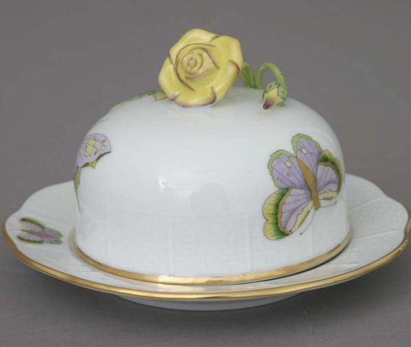 Butter dish, rose knob - Royal Garden Butterfly