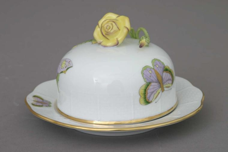 Butter dish, rose knob - Royal Garden Butterfly