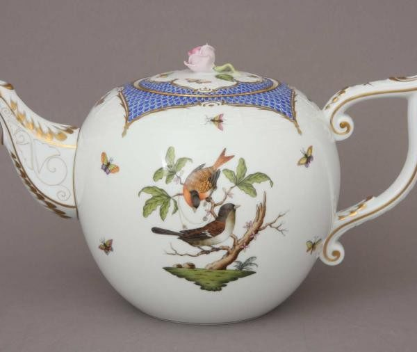 Teapot, rose knob - Rothschild Bird Blue