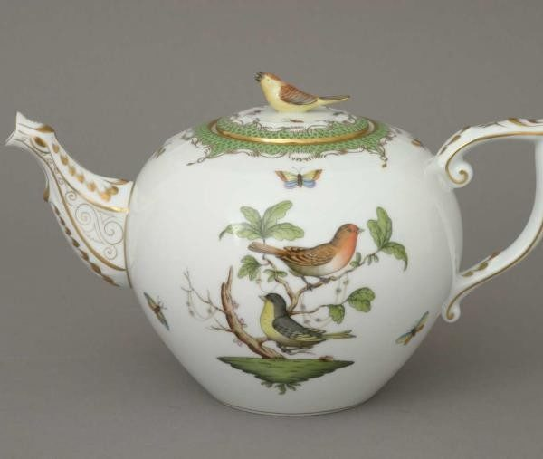 Teapot, bird knob - Rothschild Bird Maroone