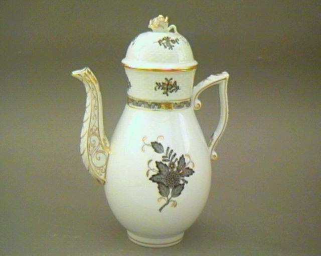 Coffeepot, rose knob - Chinese Bouquet Black
