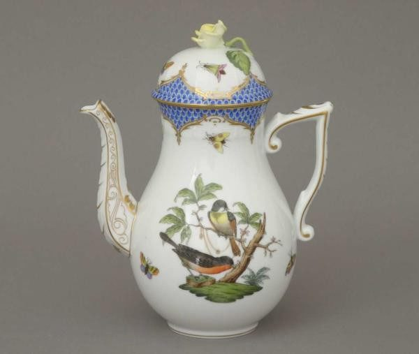 Coffee Pot, rose knob - Rothschild Bird Blue