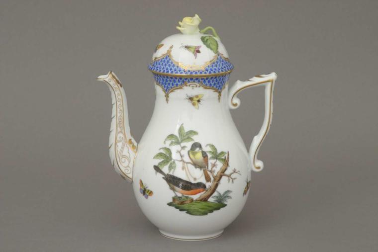 Coffee Pot, rose knob - Rothschild Bird Blue