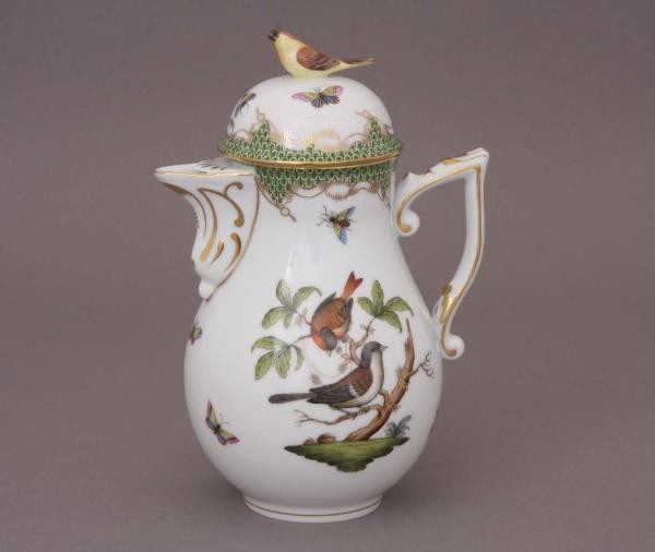 Coffee Pot, bird knob - Rothschild Bird Maroone