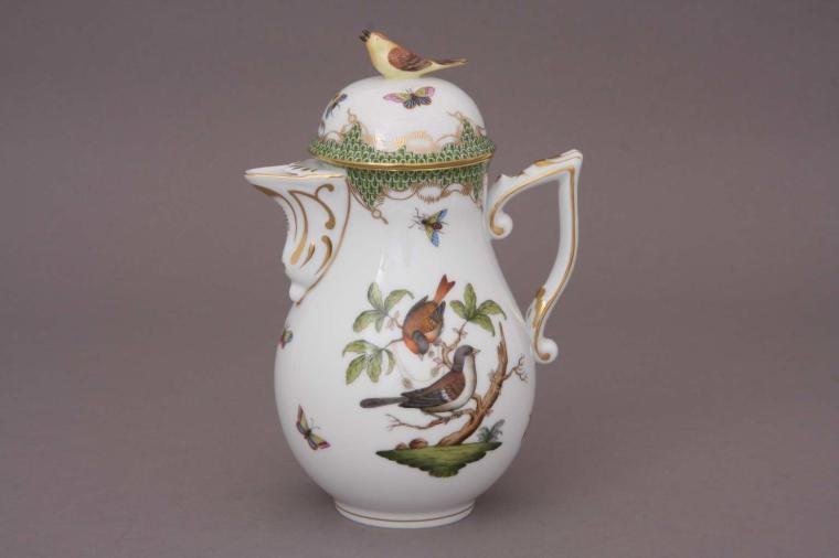Coffee Pot, bird knob - Rothschild Bird Maroone