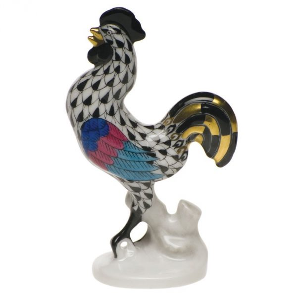 Rooster, Small Figurine - Fishnet Colors
