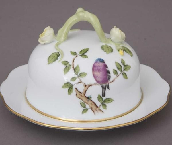 Butter dish, branch knob - Songbird