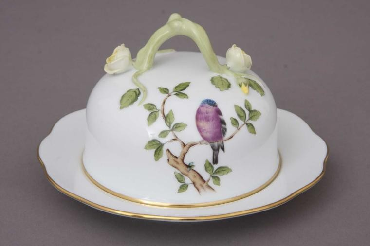 Butter dish, branch knob - Songbird