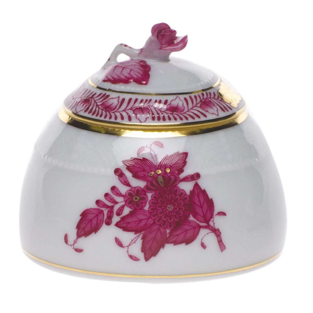 Mustard pot - rose knob - Chinese Bouquet