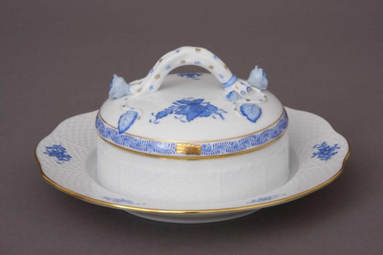 Butter Dish, branch knob - Chinese Bouquet Blue