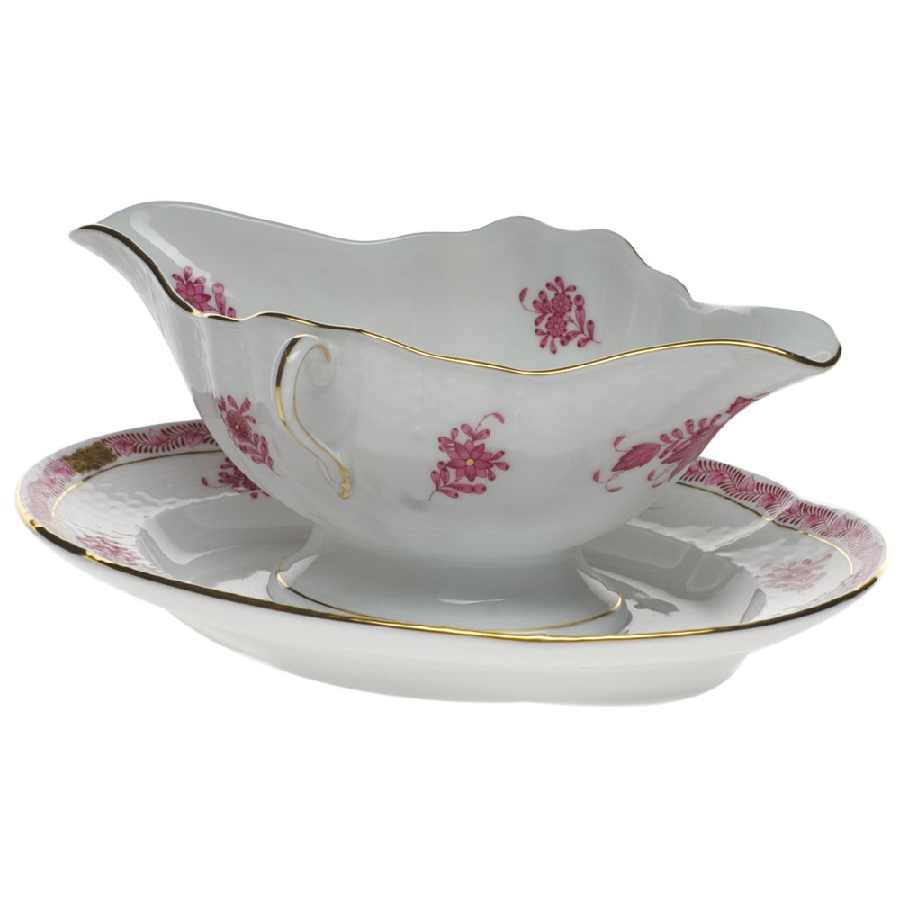 Gravy boat with stand - Chinese Bouquet (Assorted Colors)